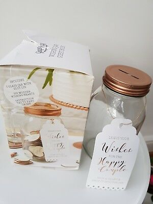 GLASS JAR WEDDING GUEST BOOK Piggy Bank Rose Gold Lid Without Wooden Hearts