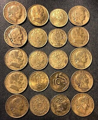 Old Peru Coin Lot - 1948-1973 - 10 CENTAVOS - Uncommon Type Coins - Lot #118