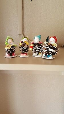 Set Of Four Vintage Pinecone Elves