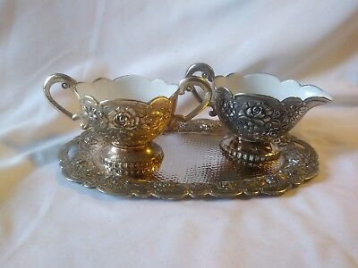 Antique Victorian Silver Alloy Porcelain/Enamel Lined cream sugar set