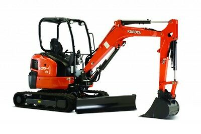 3.5 Tonne Kubota U35 Excavator Hire $330 a Day - Delivery Available