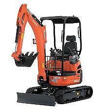 1.7 Tonne KUBOTA U17-3 Mini Excavator Hire $240 a Day - Delivery Available