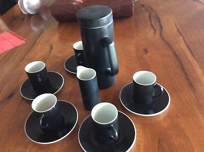 retro Japanese porcelain coffee set with coffee pot