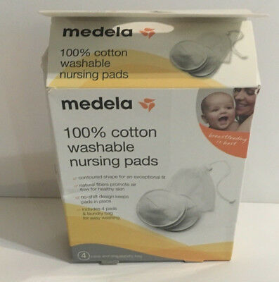 Medela Washable Cotton Breast Nursing Pads Pack of 4 Pads with Wash Bag