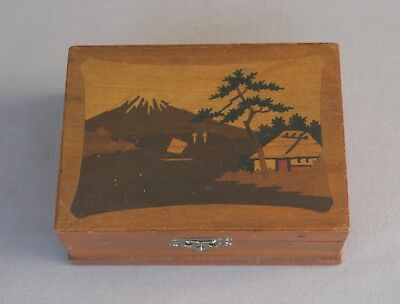 Vintage Wood Box With Mt Fuji & House View