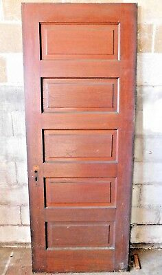 Antique Victorian Interior Five Panel Door - C. 1900 Oak Architectural Salvage