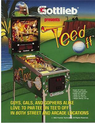 Gottlieb 1993 TEED OFF Original NOS Flipper Game Pinball Machine Promo Flyer Adv