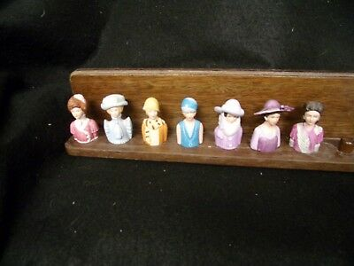 7 Vintage Avon Thimbles With  Stand