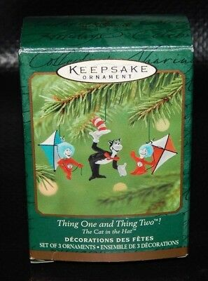 NEW Hallmark Miniature Ornament Set 2001 Thing One Thing Two The Cat In The Hat