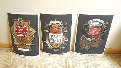 MILLER HIGH LIFE set of 3 soft plastic display signs metallic poster☆New☆ 19x14