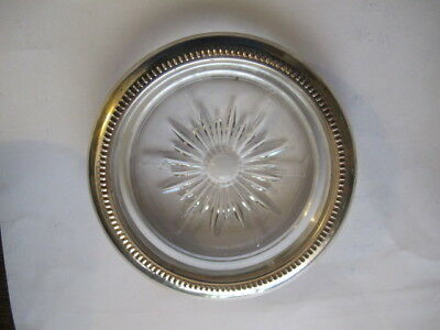 Vintage Starburst Cut Glass & Silverplate Leonard Metal Coaster - Italy 1960s?