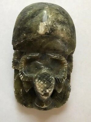 Vintage Egyptian Carved Soapstone Scarab Beetle Paperweight w/ Hieroglyphics 3