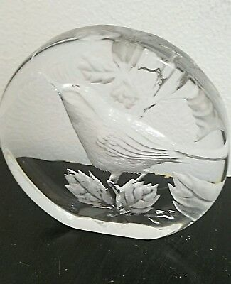 Mats Jonasson Sweden Clear Full Lead Crystal Bird Signed Paperweight  RARE