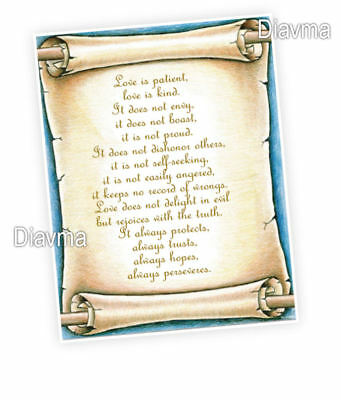 What is love -  Corinthians 13:4-7 bible verse - A4 Laminated Poster scroll