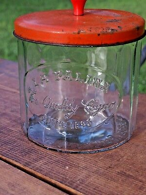 Vintage Embossed  La Palina Cigars Glass Jar Tobacco Humidor Advertising Display