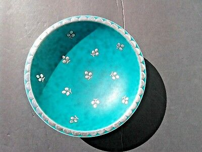 Vintage Gustavsberg Argenta Sweden Pottery Footed Bowl Silver Overlay Green Dish