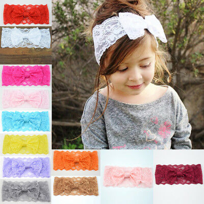 Baby Girls Headband Soft Lace Bow Elastic Hairband Princess Hair Accessories