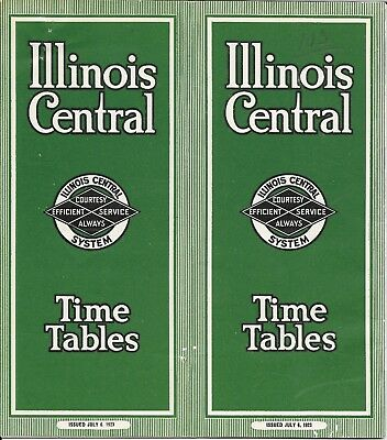 Illinois Central Time Tables (1923)