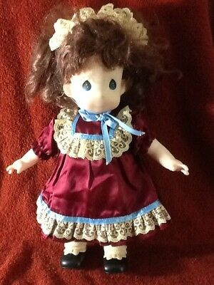 """Vintage 1994 PRECIOUS MOMENTS 12"""" DOLL, With Maroon Dress Matching Hair Band"""