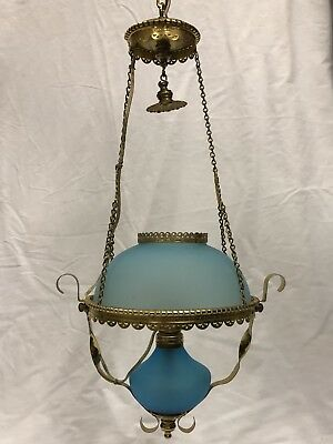 Victorian Style Miniature Blue Satin Glass Hanging Library Electric Oil Lamp NR