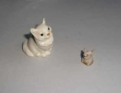 Hagen Renaker Sitting White Persian and Tiny Mouse