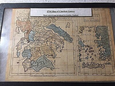 Rare 1794 Hand Colored Map of Ancient Greece Produced in London No reserve