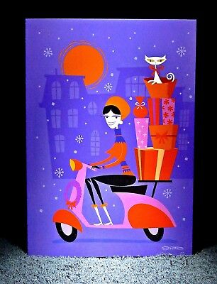 """SHAG Early Original 2002 Release """"SCOOTER GIRL"""" Christmas Greeting Note Card NEW"""