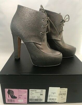 efadeb9da76 CHANEL LACE UP booties boots Khaki silver metal plate 38.5 NIB ...