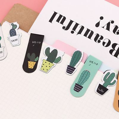 Lovely Cactus Magnetic Bookmarks Paper Clip Fridge Stickers School Office Supply