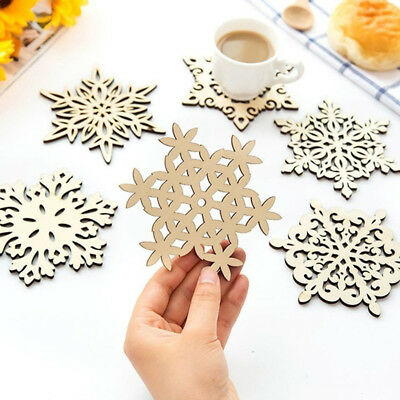 Wooden Carved Mug Pads Table Decoration Snowflake Christmas Ornaments Cup Mat