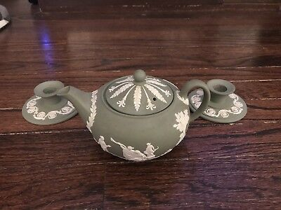 Wedgwood Jasperware Cream On Green Teapot And Candle Holder Set Vintage