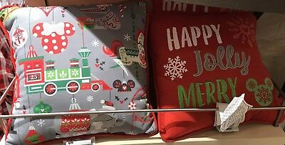Disney Parks Holiday Happy Jolly Merry Reversible Throw Pillow Dumbo Train Ears