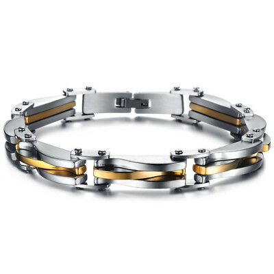 Two Tone Stainless Steel Men's Chain Link Bracelet Wristband Cuff Bangle Jewelry
