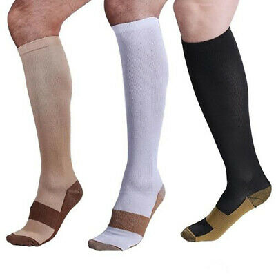 3Pairs Copper Infused Compression Socks 20-30mmHg Graduated Mens Womens S-XXL