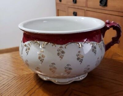 Antique Victorian Homer Laughlin Chamber Pot Red with Gold Trim