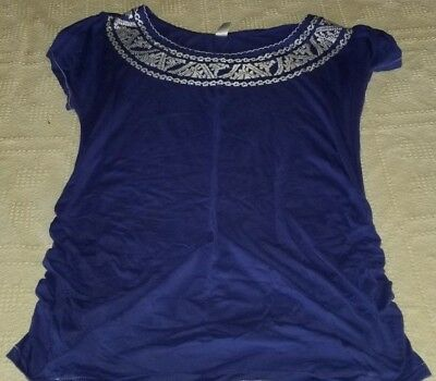 Old Navy Maternity Blue T-shirt Tee Ruched Casual Top Women's Size Large