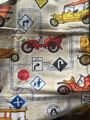 Barkcloth Fabric Two Curtains Vintage Car Design