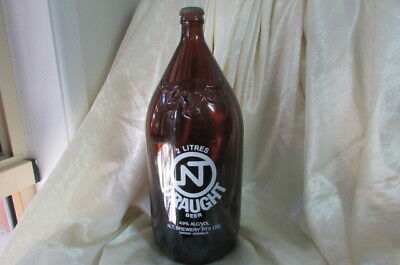 Vintage Nt Draught 2 Litre Beer Bottle With Buffalo Mark Circa 1980's