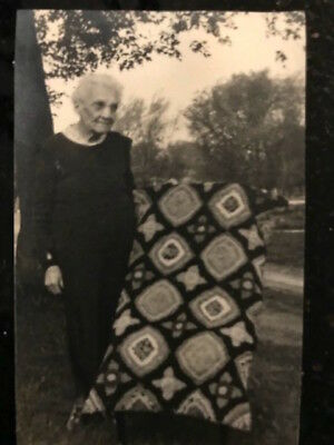 Vintage Real Photo postcard Elderly Lady with a Quilt, Iowa 1910 era