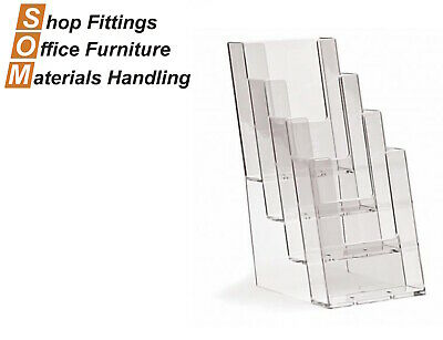 4 Tier Acrylic Pamphlet Plastic 1/3 A4 Brochure Holder Display Stand