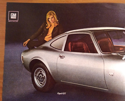 Vintage 1969 Opel GT Print Ad with Silver Riviera Photo, 2-page Ad