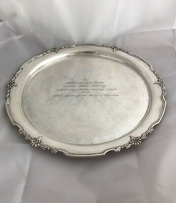 English Sterling Silver Salver, Sheffield. Judaica/Jewish, South African.