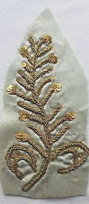 """Antique Gold Metallic Embroid. Frag. w/Gold Metal Spangles Branch 5 """" French"""
