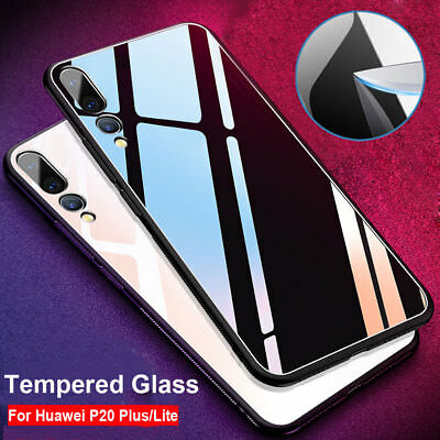 For Huawei P20 Pro  Lite Tempered Glass Back Case Soft TPU Bumper Hybrid Cover