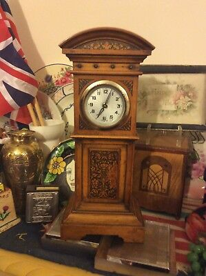 "Antique Arts & Crafts 11"" Tall Baby Grandfather Clock-Art Nouveau-German Movemen"