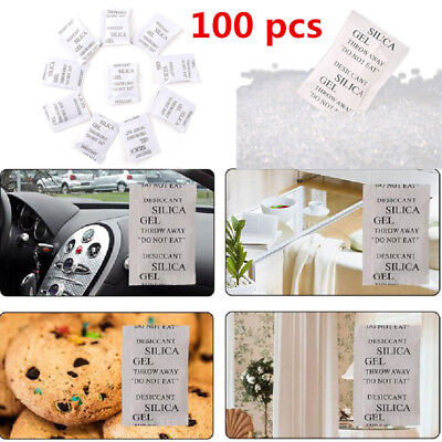 100Pcs Dry pack 1g Silica Gel Packets Non-Toxic Kitchen Living Room Absorber