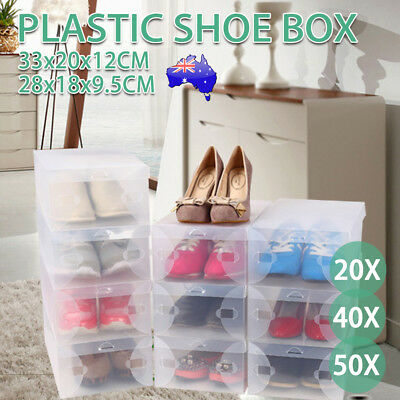 Transparent Clear Plastic Shoe Storage Box Foldable Boxes Organizer Wardrobe