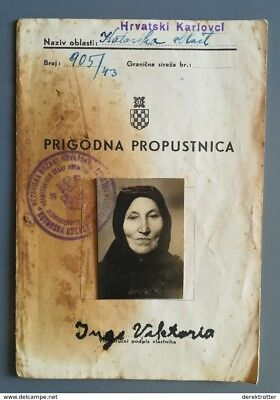 """Croatia WWII 1943 Passport for Travel  """"OCCASIONAL PASS"""" Occupation of Serbia"""