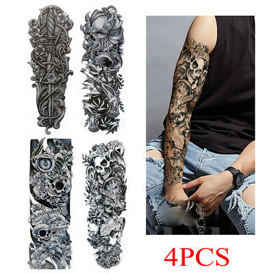 4PCS Men Women Fake Full Arm Sleeve Body Art Large Tattoo Stickers Temporary UK
