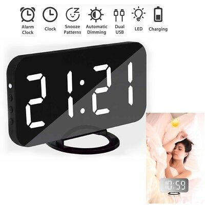Dual USB Digital LED Mirror Clock Snooze Time Alarm Clock Night Mode Dimmable UK